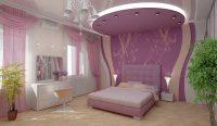 872 Потолок из гипсокартона для спальни