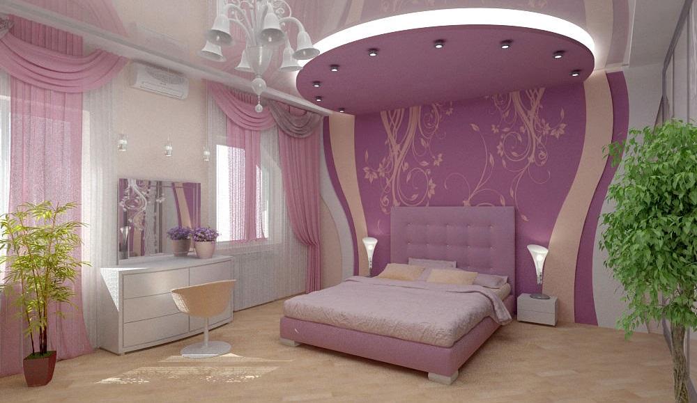 Потолок из гипсокартона для спальни