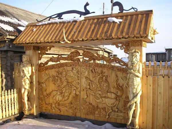 1304 Ворота деревянные своими руками — подробная инструкция