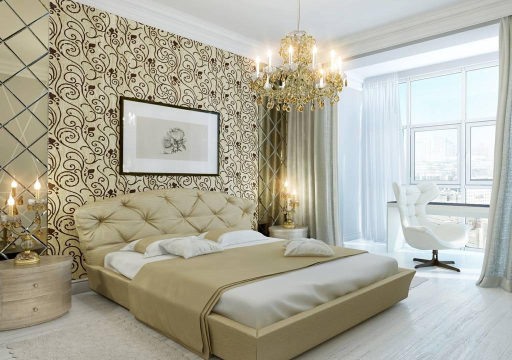 интерьер спальни с обоями двух видов как сочетать оттенки и узоры