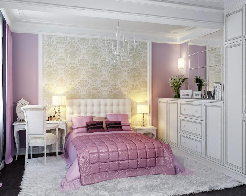 Интерьер спальни с обоями двух видов: как сочетать оттенки и узоры