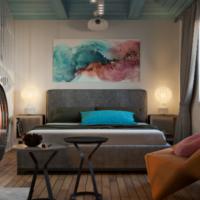 18298 Жизнь на корабле: спальня-гостиная-рабочая в морском стиле