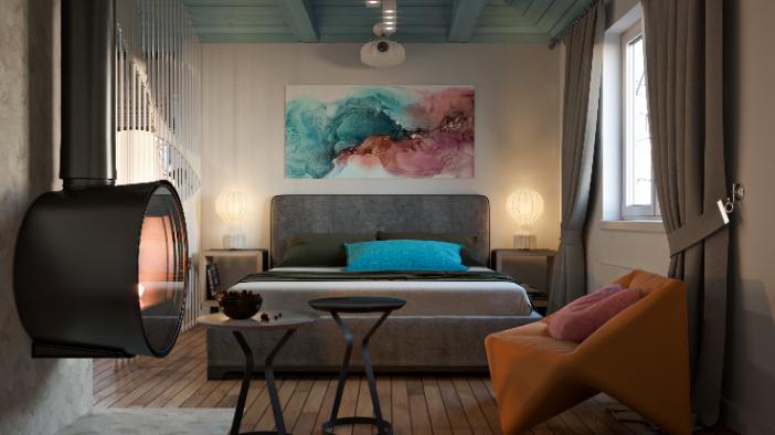 Жизнь на корабле: спальня-гостиная-рабочая в морском стиле