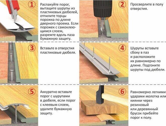 Стыковка (соединение) ламината с плиткой. Пошаговая инструкция и видео