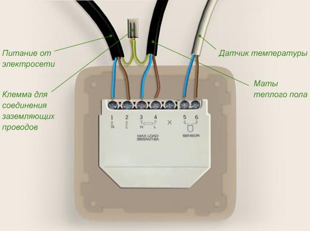 Подключение теплого пола к терморегулятору (термостату)