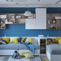 30062 Дизайн детской комнаты 12 кв.м для двоих детей