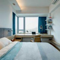 30068 Интерьер маленькой узкой спальни