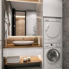 Линейное расположение мебели в ванной комнате