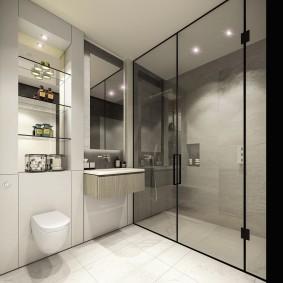 Встроенные полки в ванной с душевой кабиной