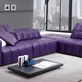 Угловой диван с обивкой из эко-кожи
