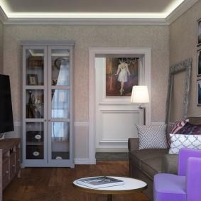 Небольшая гостиная в панельной многоэтажке