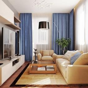Синие шторы из плотной ткани