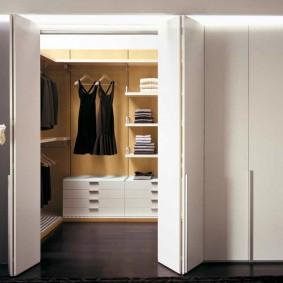 Дверь-гармошка на встроенном гардеробе