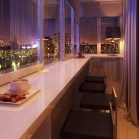 Освещение на балконе с барной стойкой