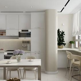 Барный столик на кухне с балконом