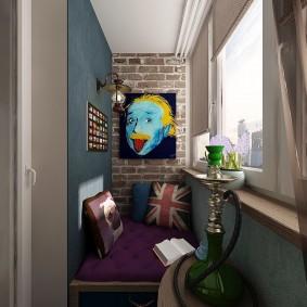 Интерьер балкона в смешанном стиле
