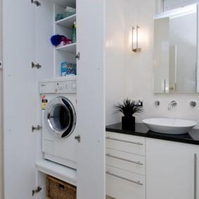 Шкаф для стиральной машины с полками для полотенец