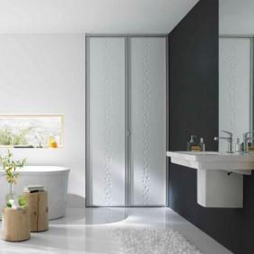 Дизайн ванной комнаты со встроенным шкафом