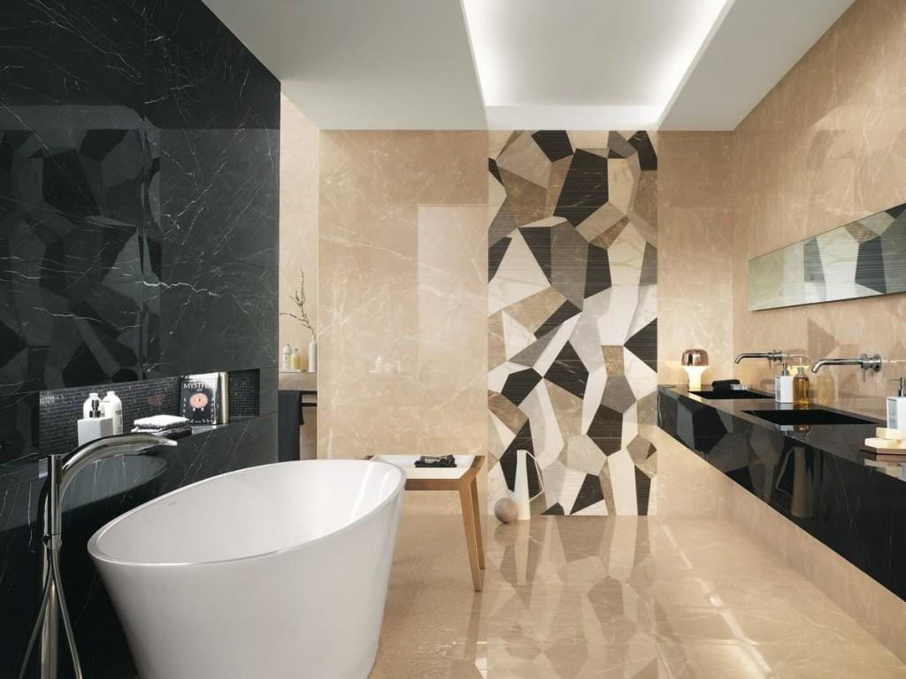 Панно из геометрической плитки в ванной большого размера