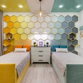 Зонирование цветом комнаты для детей разного пола