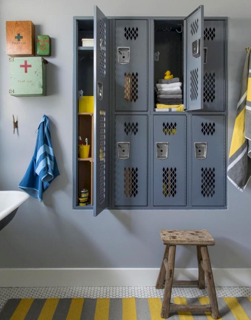 Фото встроенных шкафчиков из металла в ванной комнате