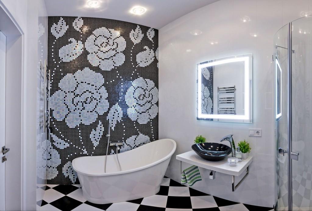 Светодиодная подсветка зеркала в современной ванной