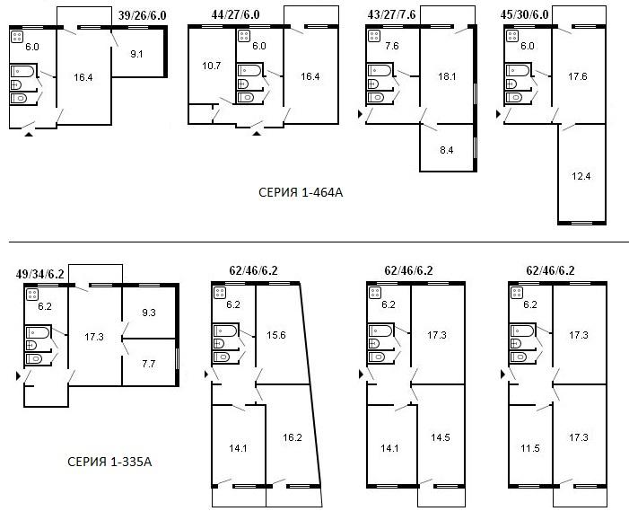 Планировки трехкомнатных брежневок в панельных домах