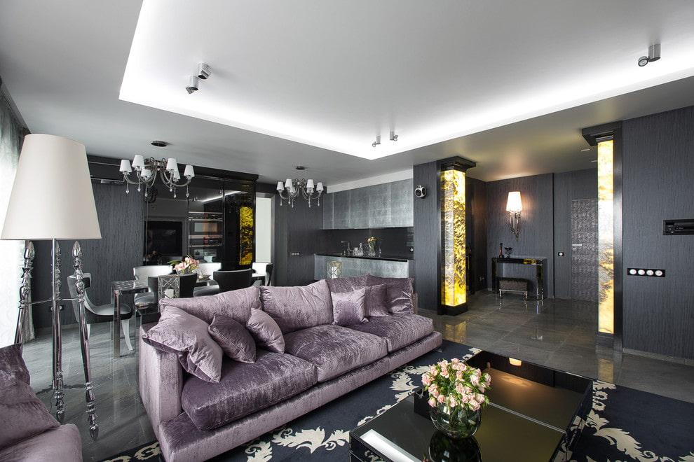 Серый интерьер квартиры студийной планировки