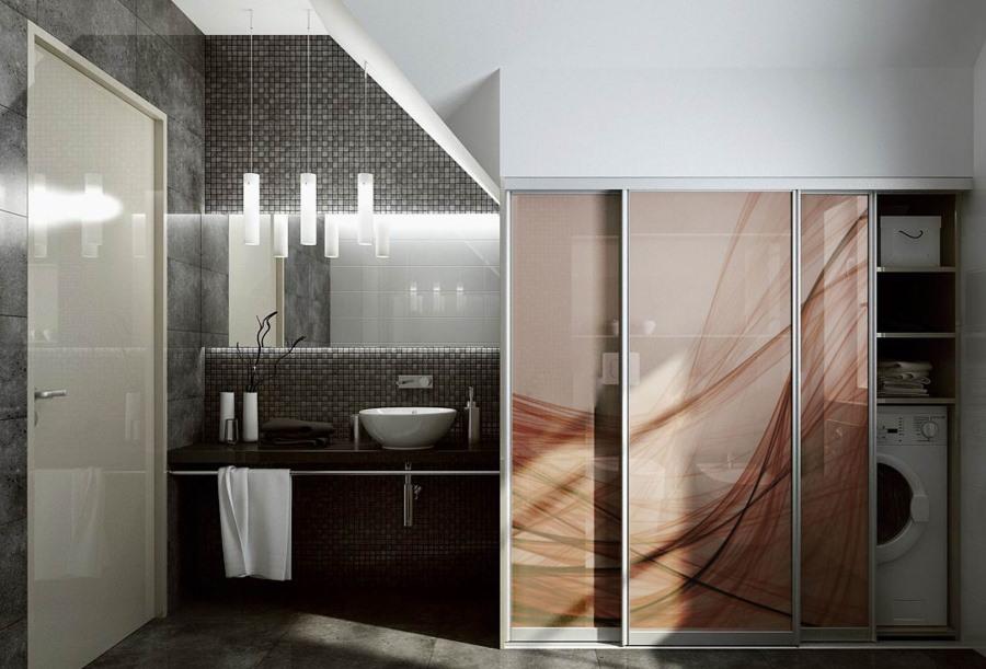 Дизайн встроенных шкафов для ванной комнаты