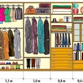 Размеры открытых полок в гардеробном шкафу