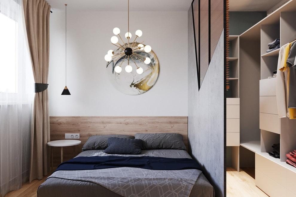 Разделение комнаты перегородкой на спальную и гардеробную зоны