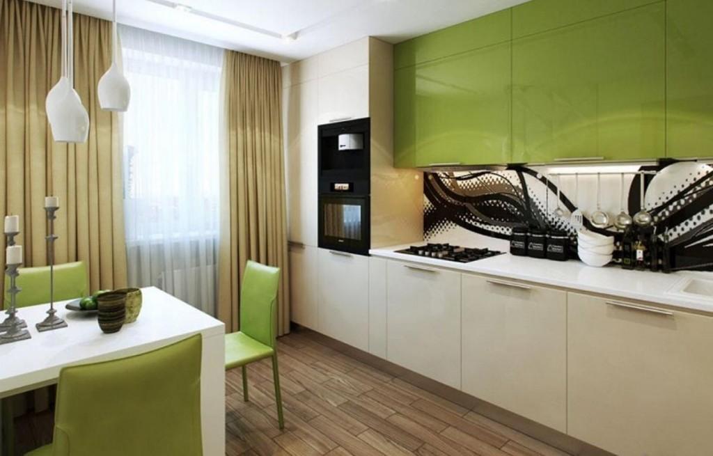 Зелено-бежевый гарнитур на кухне в брежневке