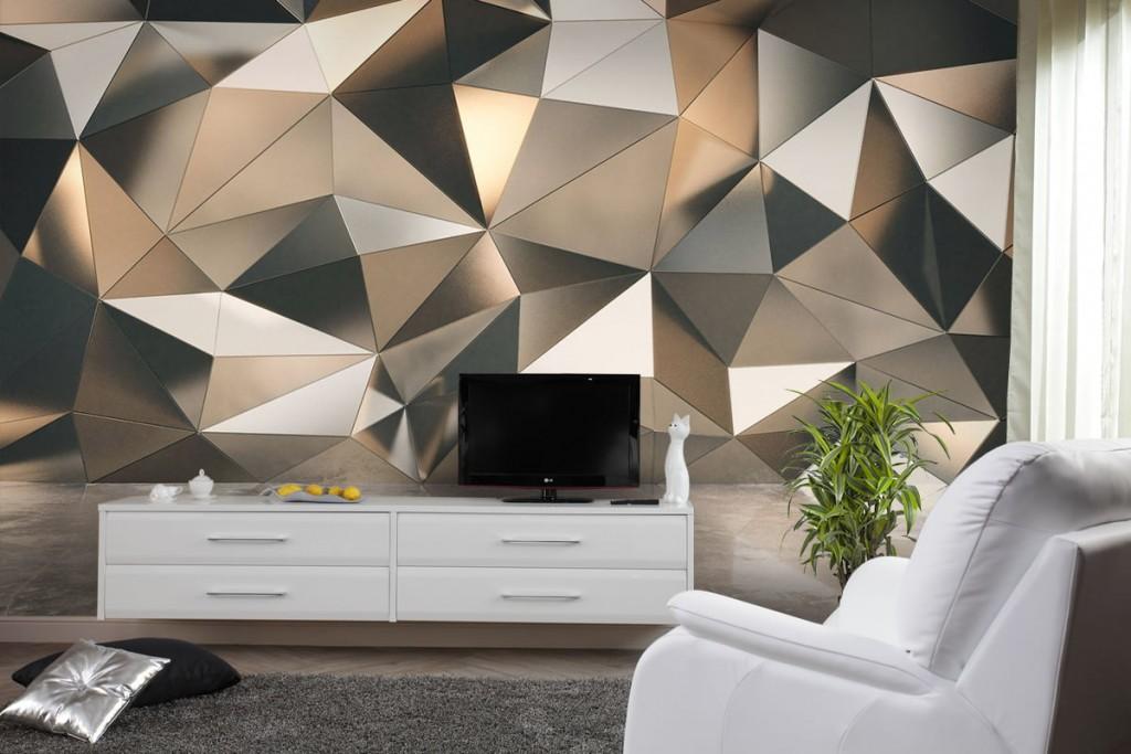 3D-обои в интерьере современной гостиной комнаты