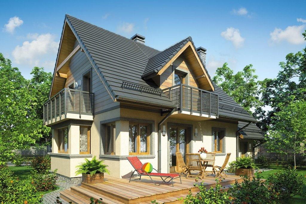 Загородный дом с двумя балконами в мансарде