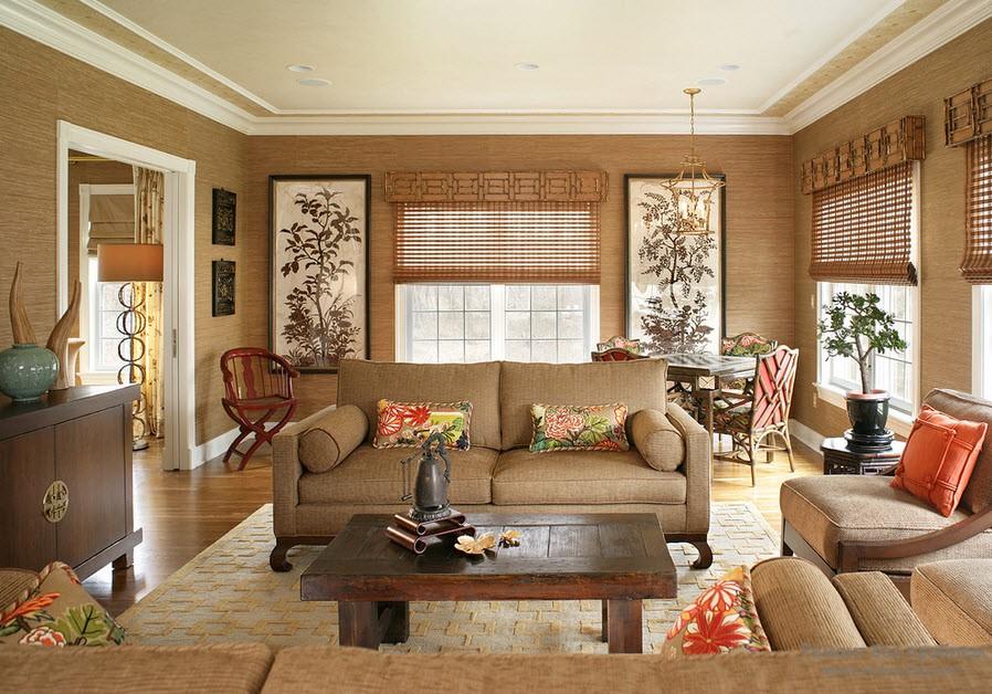 Отделка стен гостиной бамбуковыми обоями