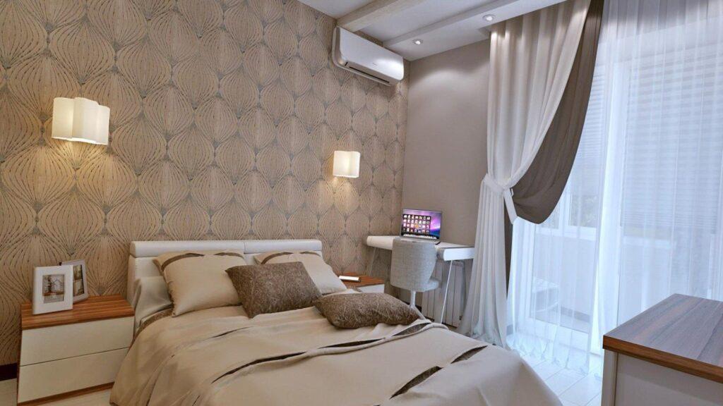 маленькая спальня с балконом дизайн