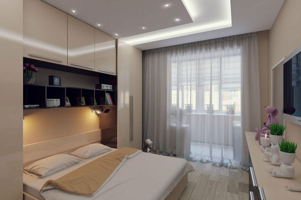 шторы в маленькую спальню с балконом