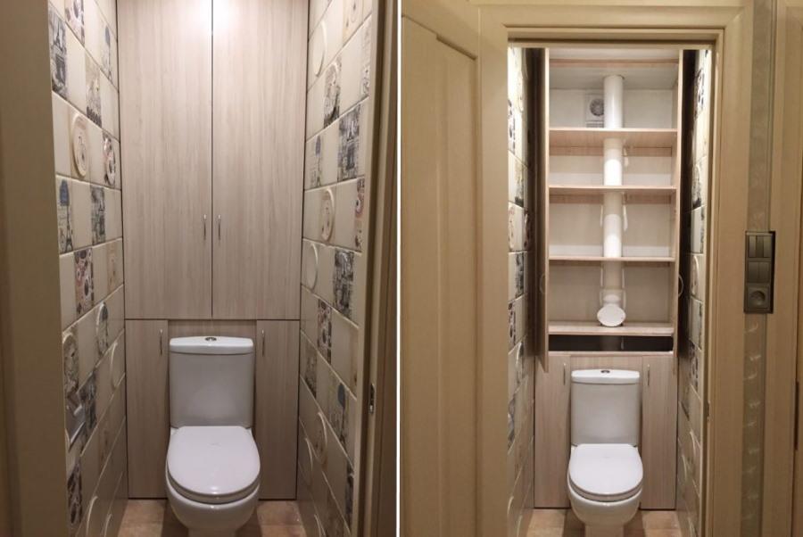 Простой шкафчик на задней стене туалета
