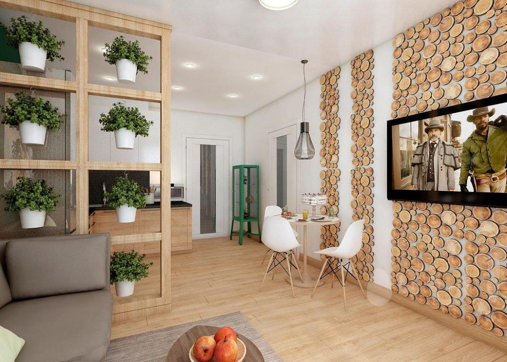 Отделка спилами стены в квартире-студии
