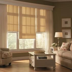 Светлые шторы на окнах в гостиной
