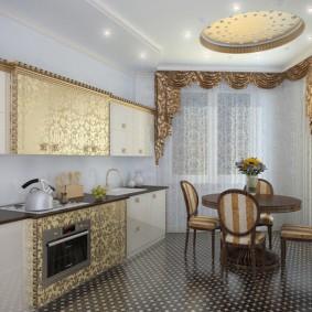 Шторы с ламбрекеном в просторной кухне