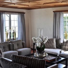 Серый интерьер угловой гостиной
