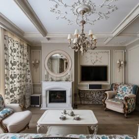 Гостиная комната с камином в интерьере