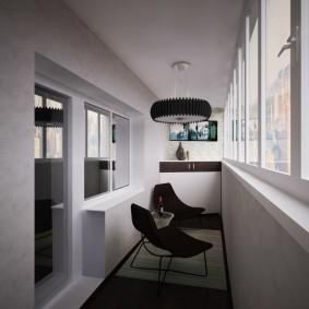 Простая отделка балкона в стиле минимализма