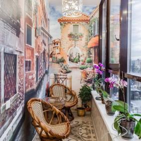 Оригинальный интерьер маленького балкона