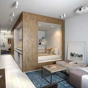 Встроенная спальня в гостиной комнате