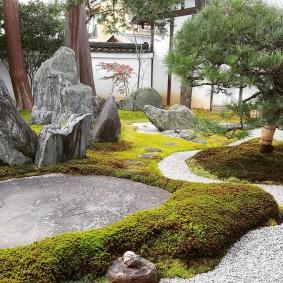 Каменные глыбы под высокими деревьями