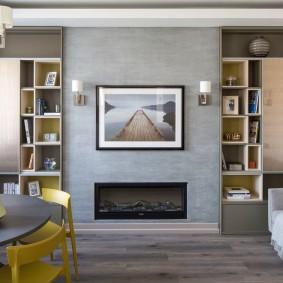 Дизайн гостиной комнаты с биокамином