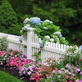 Белый забор в палисаднике загородного дома