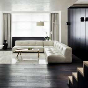 Темный пол в гостиной стиля минимализма